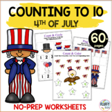 4th of July Math Counting 1 to 10