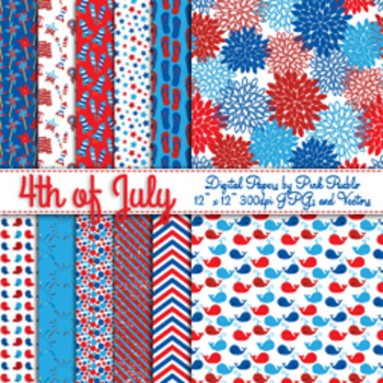 Fourth of July Digital Scrapbook Paper Pack