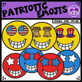 Fourth of July Emojis Clipart (Patriotic)
