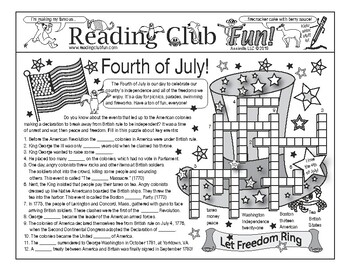 Fourth of July (Events of the American Revolution) Two-Page Activity Set