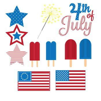 Fourth of July Fireworks Clipart Set