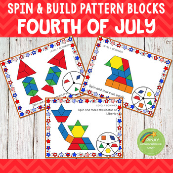 4th of July Independence Day Pattern Blocks Spin and Build