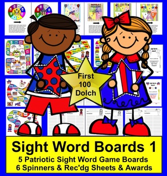 Fourth of July Literacy Activities:  Dolch Sight Words Game Boards - Set 1