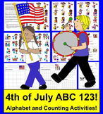 Fourth of July Activities -Alphabet and Counting to 20 - Summer School