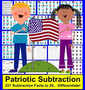 Fourth of July Math Activities-231 Subtraction Facts to 20- Differentiate!