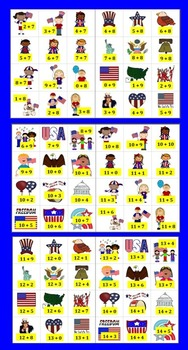 Patriotic Math: Memorial Day Addition -167 Addition Facts to 20 - Differentiate!