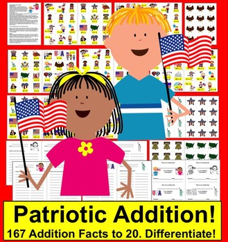 Patriotic Math:  Addition -167 Addition Facts to 20 - Differentiate!
