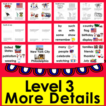 Fourth of July Activities: Mini Books - 3 Levels + Word Wall Pics: Summer School