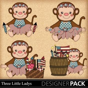 Fourth of July Monkey Girls