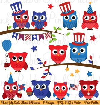 Fourth of July Owl Clipart Clip Art, Happy 4th of July Owls Clipart Clip Art