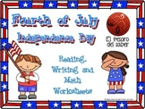 Fourth of July Packet - Reading, Writing, Math and Coloring