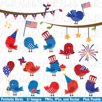 Fourth of July Patriotic Birds Clip Art - Commercial and P