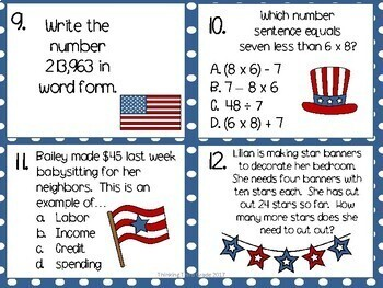 Fourth of July Patriotic Math Task Cards SCOOT TEKS CCSS Aligned 3rd 4th Grade