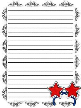 Fourth of July Patriotic Themed Stationery Paper