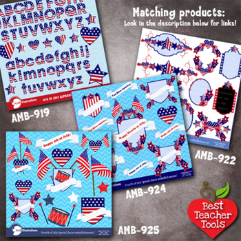 Fourth of July Clipart, Independence Day Flags and Frames Clip art, AMB-924