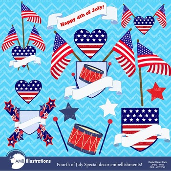 Fourth of July Clipart, Independence Day, Frames and Flags