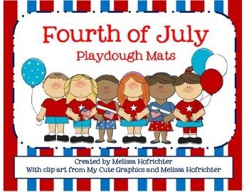 Fourth of July Playdough Mats