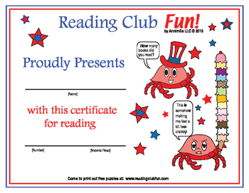 Fourth of July Reading Log and Certificate Set