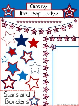 Fourth of July Stars and Borders