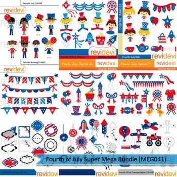 Fourth of July Super clip art mega bundle (9 packs)