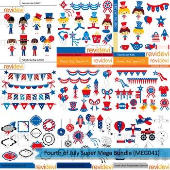 Fourth of July Super clip art mega bundle (9 packs)