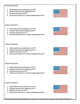 Fourth of July Task-Based Gap Fill