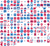 Patriotic Clip Art Icons for Lesson Plans, Maps, and Worksheets