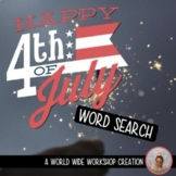 Fourth of July Digital Word Search Activity (Key and Print version included!)