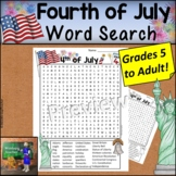 Fourth of July Word Search HARD for Grades 5 to Adult