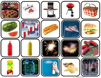 """""""Fourth of July"""" Words Matching/Memory Game/Flashcards for Autism"""
