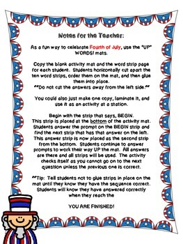 """Fourth of July - """"Up""""-Words Activity"""