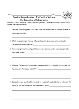 Fourth of July and Declaration of Independence Reading and Vocabulary