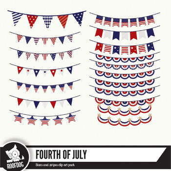 Fourth of July bunting clipart images assorted bunting, pennant flags etc