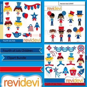 Fourth of July clip art bundle (3 packs) kids clipart