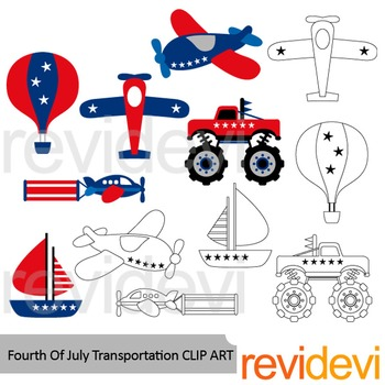 Fourth of July clipart: Transportation red blue clip art