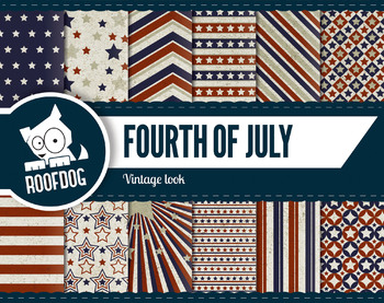 Fourth of July digital papers assorted vintage look stars and stripes patterns