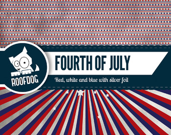 Fourth of July themed digital papers with silver foil look