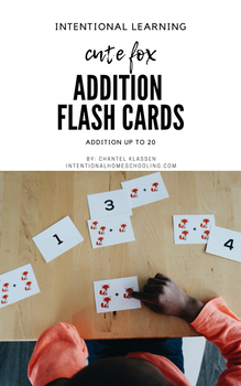 Addition up to 20 Flash Cards - Cute Fox Version