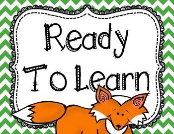 Fox Behavior Clip Chart Chevron Theme Back to School Classroom Decor