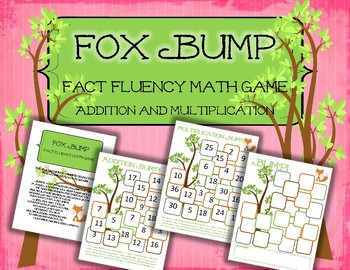 Fox Bump Addition and Multiplication: Fact Fluency Game and Center