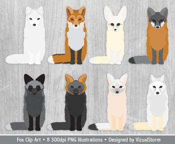 Fox Clipart - 8 Hand Drawn Foxes - Woodland Animal Clip Art Graphics