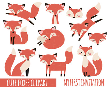 Fox Clipart, Cute Fox Clipart, Baby Shower Clipart, Party Clipart, Woodland Anim