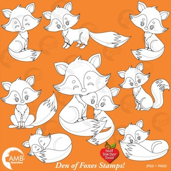 Fox Clipart, Cute Foxes Digital Stamps Clipart, Mother and Baby Fox, AMB-2236
