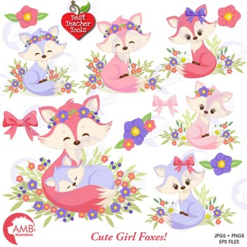 Fox Clipart, Cute Foxes Clipart, Mother and Baby Fox,  AMB-1377
