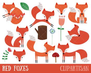 Fox Clipart Set | Red Foxes Clip Art
