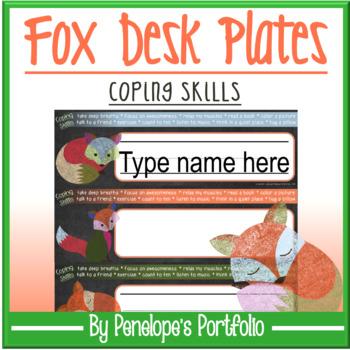 Desk Plates / Name Plates - Coping Skills, Fox Chalkboard Theme