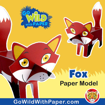 Fox Craft Activity 3d Paper Model By Go Wild With Paper Tpt