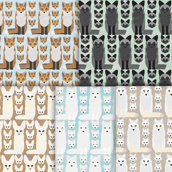 Fox Digital Paper Pack, 10 Handmade Printable Woodland Foxes Backgrounds