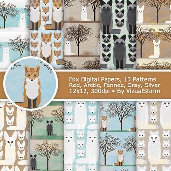 Fox Digital Paper Pack, 10 Handmade Printable Woodland Fox