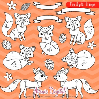 Fox Digital Stamps - Foxes line art coloring pages - clip